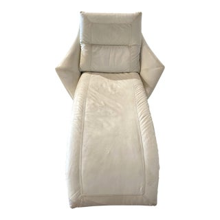 1980s White Leather Lounger For Sale