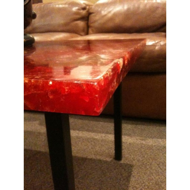 Metal Pierre Giraudon Style Mid-Century Cocktail Table in Crackled Resin in the Style France circa 1965 For Sale - Image 7 of 7