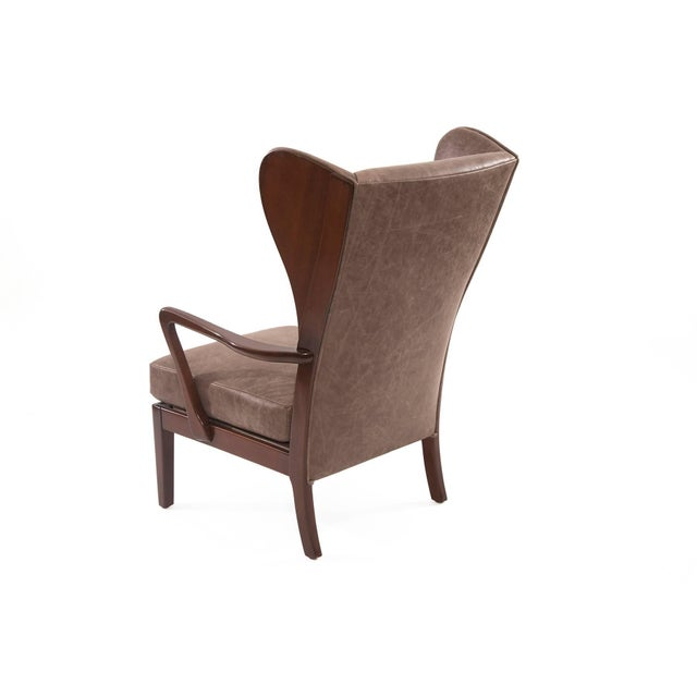 1950s Scandinavian Leather Wingback Chair For Sale In Phoenix - Image 6 of 7
