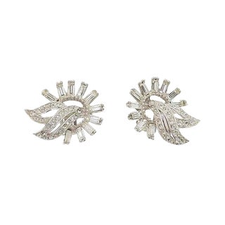 1950s Ledo Rhodium Plated Rhinestone Earrings For Sale