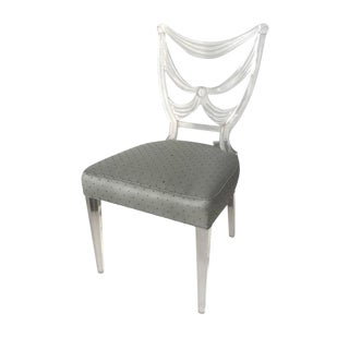Silk Upholstered Lucite Side Chair