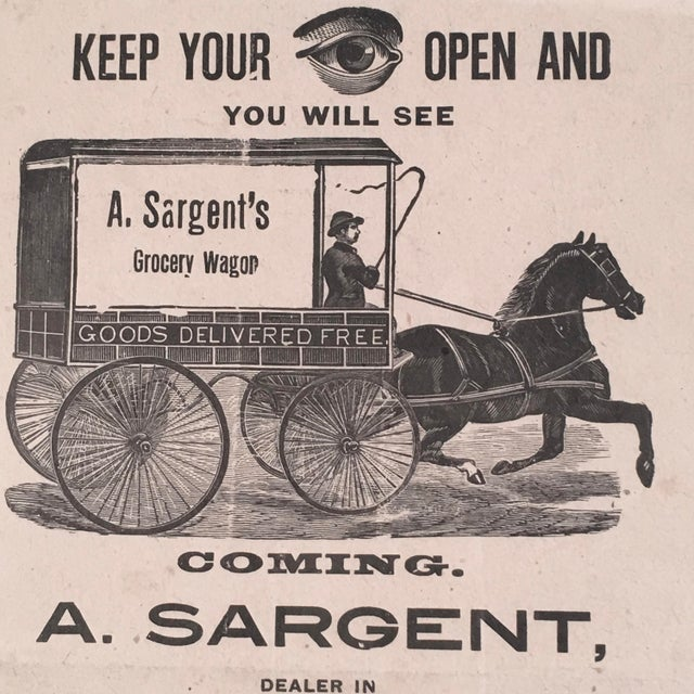 Late 19th Century 19th Century Rebus Grocery Wagon Advertisement Poster For Sale - Image 5 of 10