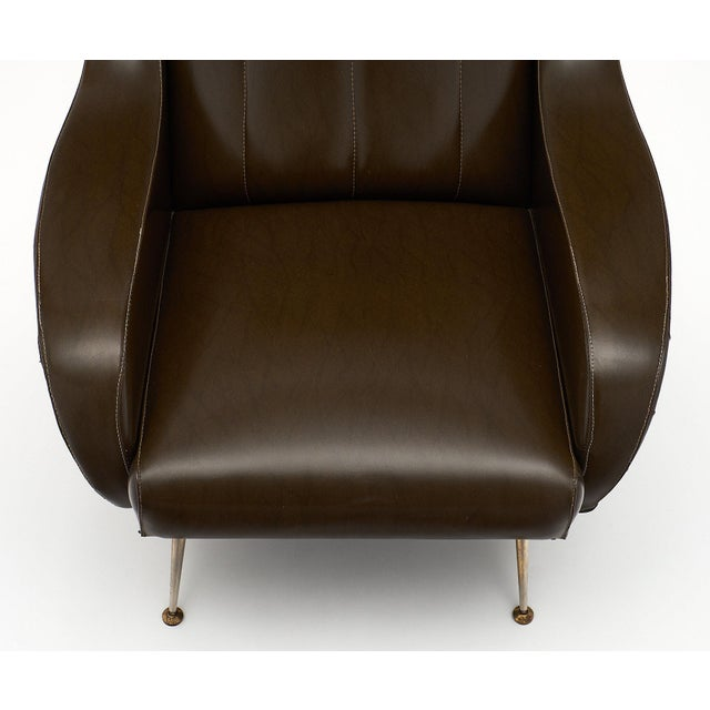 1950s Vintage French Modernist Brown Vinyl Armchairs - a Pair For Sale - Image 5 of 10