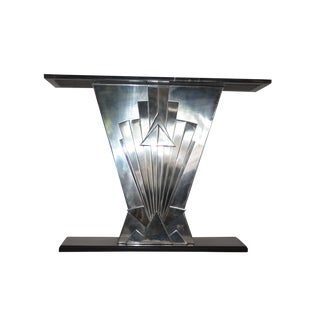 Studio Stainless Steel & Negro Marquina Marble Console Table For Sale