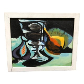 Vintage 70 Still Life Painting Signed For Sale
