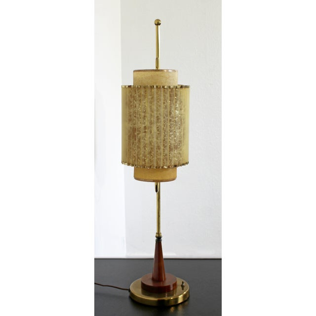 Art Deco Wood & Brass Sculptural Table LampDual Headed For Sale - Image 4 of 9
