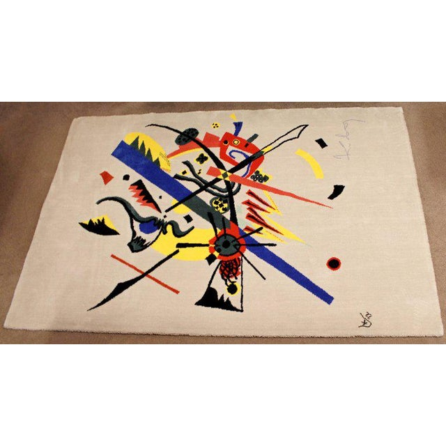 """Mid-Century Modern Abstract Rug Tapestry Inspired by Kandinsky Small Worlds - 5'11"""" x 9' For Sale - Image 4 of 8"""