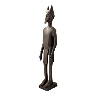 Antique African Ivory Coast Baule Figure of a Male Hand-Carved Wood For Sale
