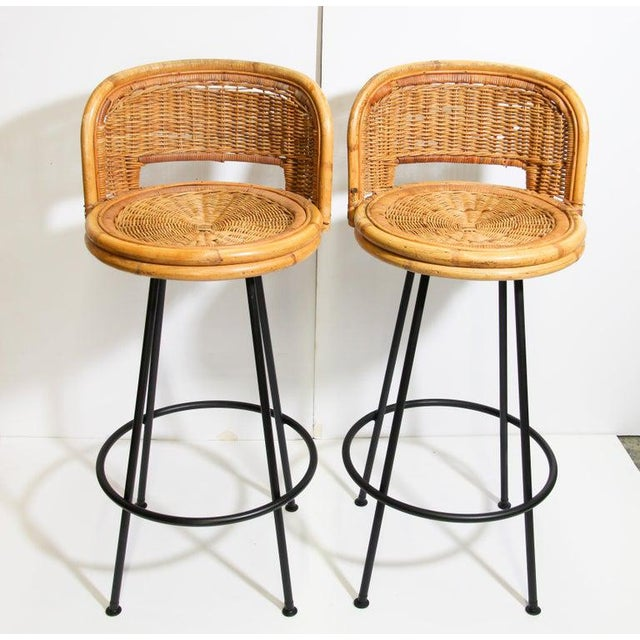 Vintage 1960s Swivel Woven Rattan Bar Stools - a Pair For Sale - Image 13 of 13