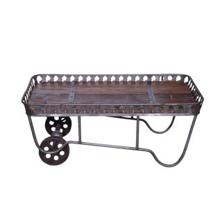 Industrial Rustic Coffee Table With Wheels For Sale