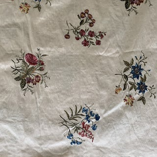 Vintage Floral Embroidered Silk Shantung Fabric- 4 Yards For Sale