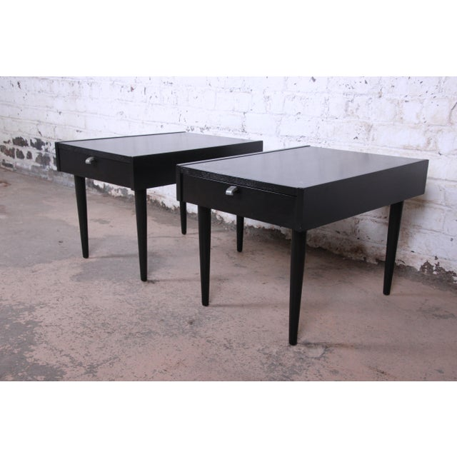 Danish Modern Merton Gershun for American of Martinsville Ebonized End Tables or Nightstands, Pair For Sale - Image 3 of 13