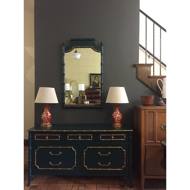 Faux Bamboo Vintage Dresser With Mirror For Sale - Image 4 of 5