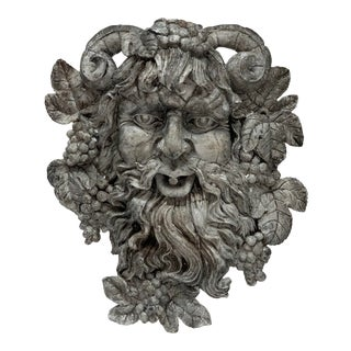 """Cast Stone Bacchus """"God of Wine"""" Wall Head For Sale"""