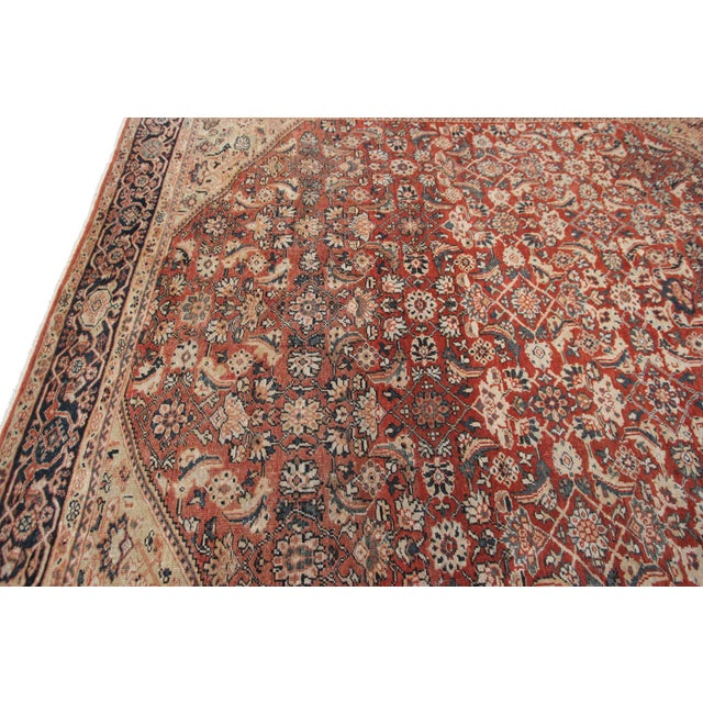 Textile Early 20th Century Antique Persian Mahal Rug-8′9″ × 10′5″ For Sale - Image 7 of 11