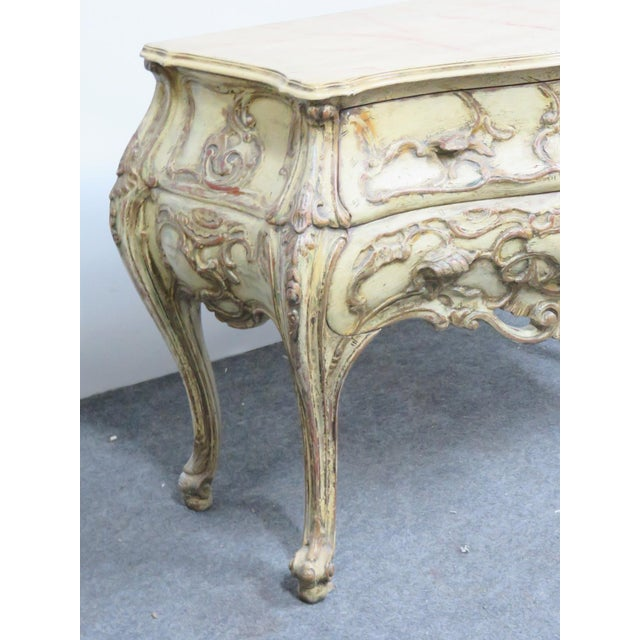 Italian Italian Bombay Carved Paint Distressed Commode For Sale - Image 3 of 5