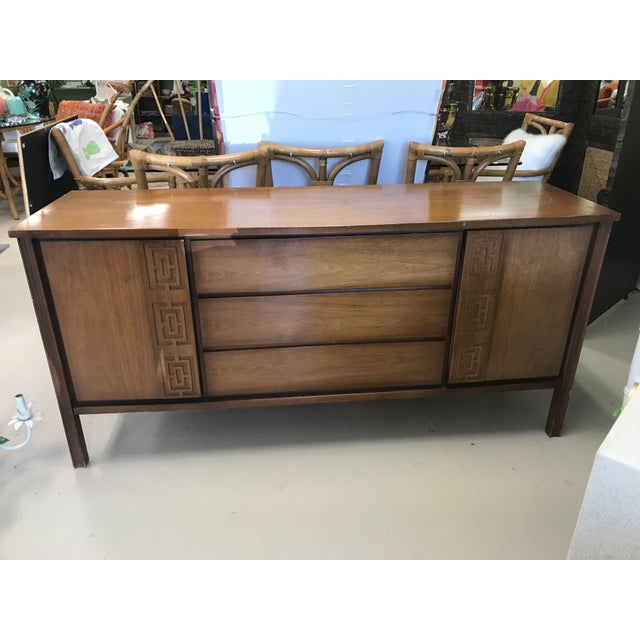 Wood Dixie Mid-Century Greek Key Details Buffet For Sale - Image 7 of 7