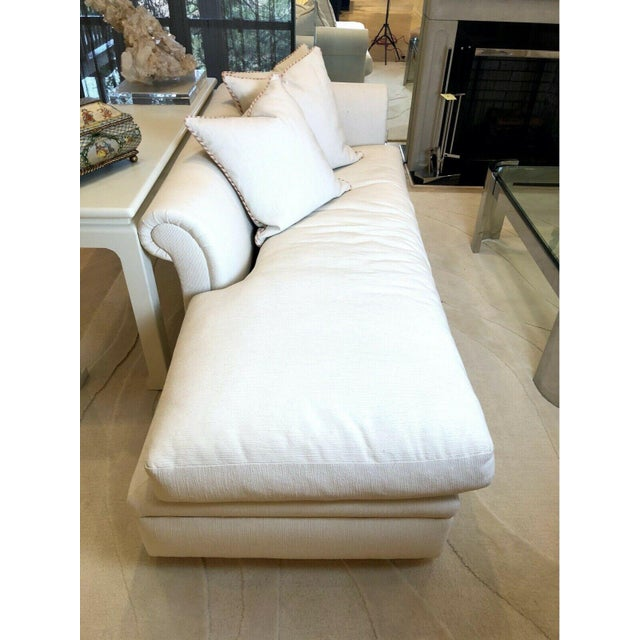 Transitional Custom Fainting Couch With Left Arm Rest and Textured Fabric For Sale - Image 3 of 12