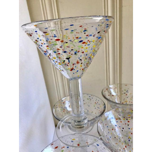 Large Artisan Confetti Martini Glasses- Set of 5 For Sale - Image 4 of 10