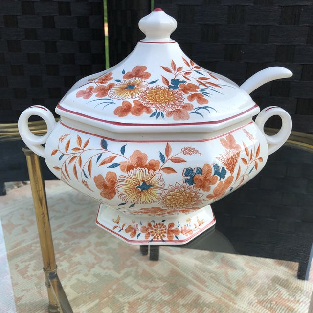 Imari Orange and Teal Soup Tureen With Ladle - 3 Pieces For Sale - Image 13 of 13