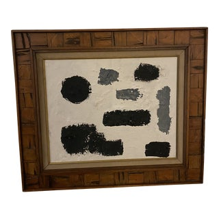 Contemporary Abstract Black and White Oil Painting, Framed For Sale