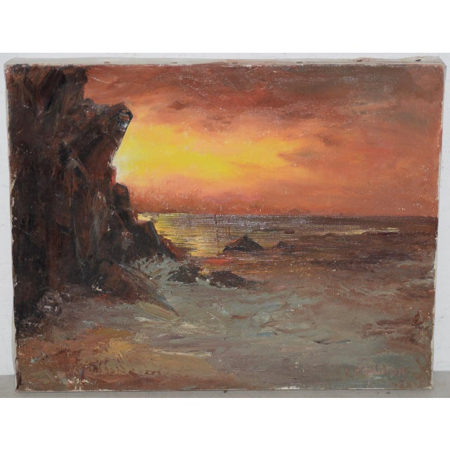 "Red Irina Roudakoff Belotelkin (january 1, 1913 – January 21, 2009) ""coastal Sunset"" Oil Painting C.1960s For Sale - Image 8 of 8"