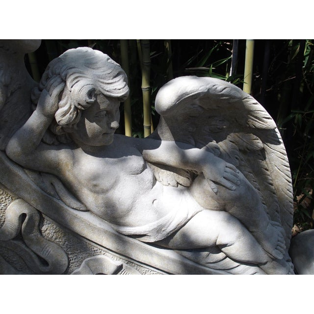 Winged Cherubs Carved Limestone Garden Bench from Italy - Image 8 of 11