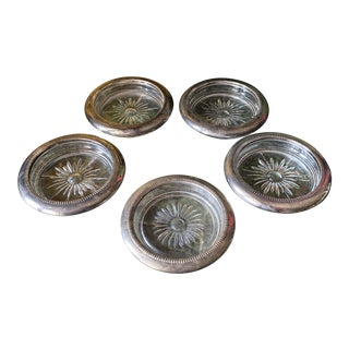 Silver and Glass Coasters or Ashtrays** - Set of 5 For Sale