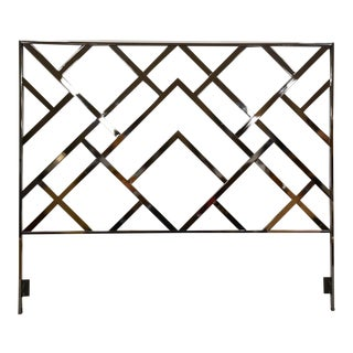 Milo Baughman Style King Chrome Headboard For Sale