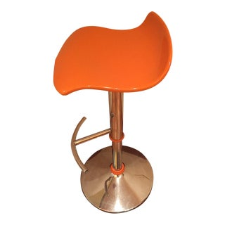 Orange Adjustable Bar Stool For Sale