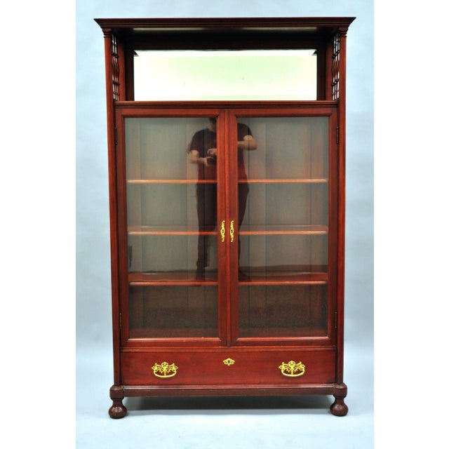 Antique Victorian Two Door Mahogany Glass Bookcase Curio Cabinet