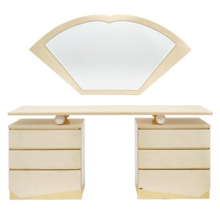 Modernist Chest and Mirror Set by Eric Maville for Jean-Claude Mahey For Sale