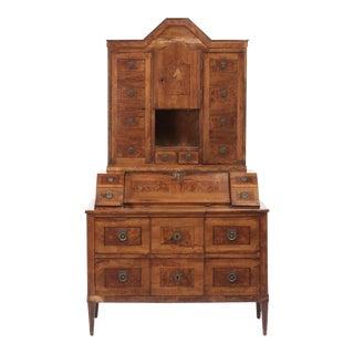 Late 18Th C Italian Fruitwood Inlaid Secretaire Bookcase For Sale