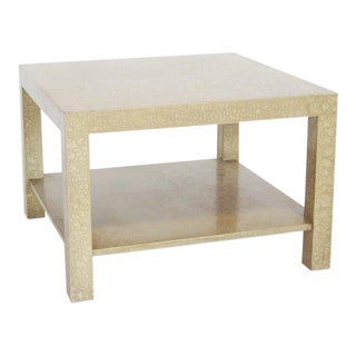 Baker style Parsons end table with eggshell finish For Sale