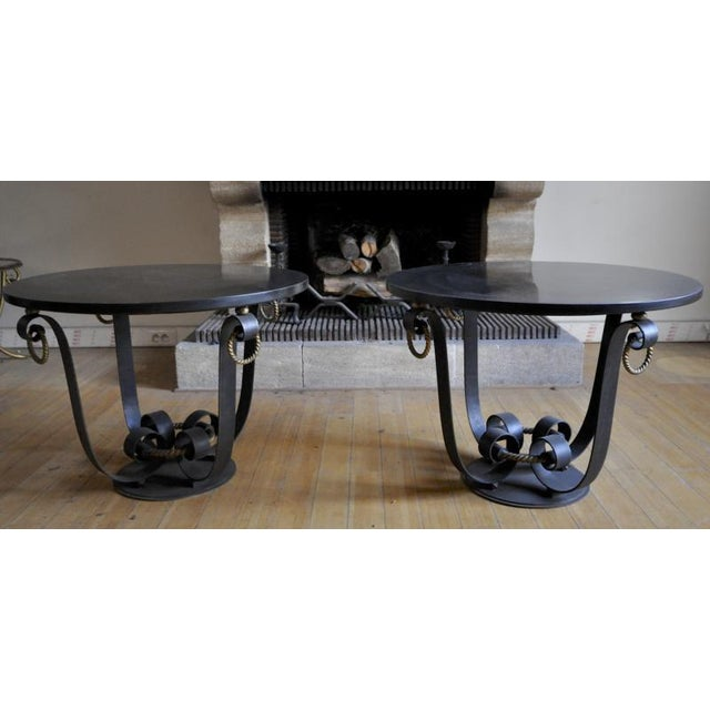 Marble Raymond Subes Pair of Wrought Iron & Marble Top Coffee Table For Sale - Image 7 of 7