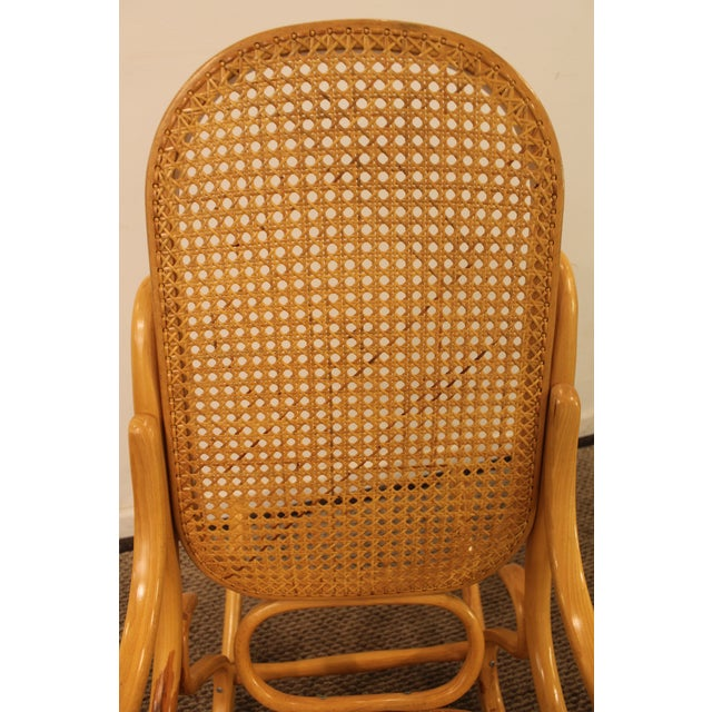 Wood Thonet Salvatore Leone Bentwood Caned-Seat Rocking Chair #10 For Sale - Image 7 of 11