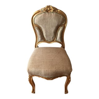 Petite Vanity Gilded Rococo Chair For Sale