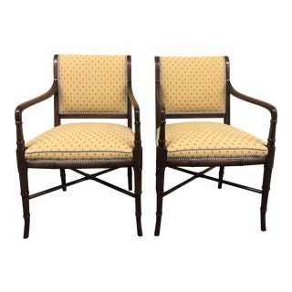 Maitland Smith Custom Upholstered Arm Chairs - a Pair