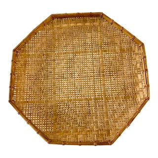 1970s Octagonal Rattan Decor Wall Accent For Sale