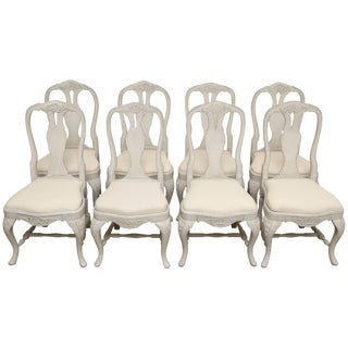 Set of Eight Antique Swedish Baroque Style Painted Dining Chairs For Sale