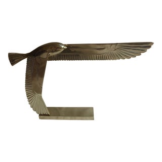 1981 Art Deco Dolbi Cashier Egyptian Revival Brass Horus Falcon Statue For Sale