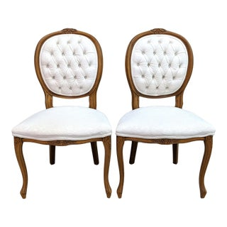 1990s French Louis XV Tufted Side Dining Chairs - a Pair For Sale