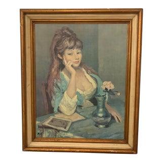 """Vintage Marcel Dyf Lithograph """"Claudine, Blue Dress"""" Framed Oil Transfer For Sale"""