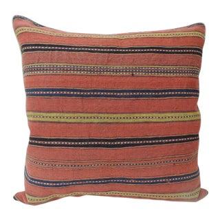 Vintage Colorful Turkish Stripes Woven Square Decorative Pillow For Sale