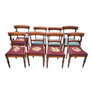 Antique English Mahogany Regency Dining Chairs - Set of 8 For Sale
