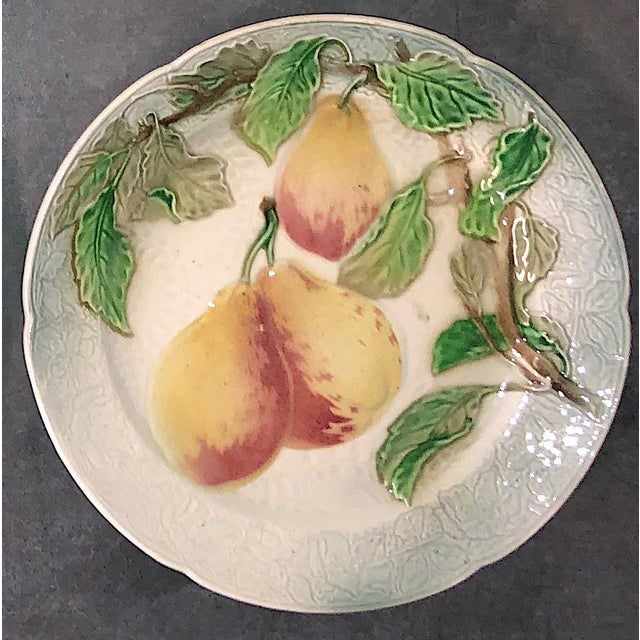 St. Clement French Faience Majolica Fruit Plates - Set of 6 For Sale - Image 6 of 10