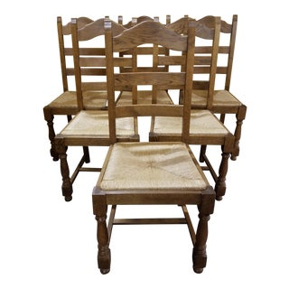 Antique Rush Seat Chairs - Set of 6 For Sale