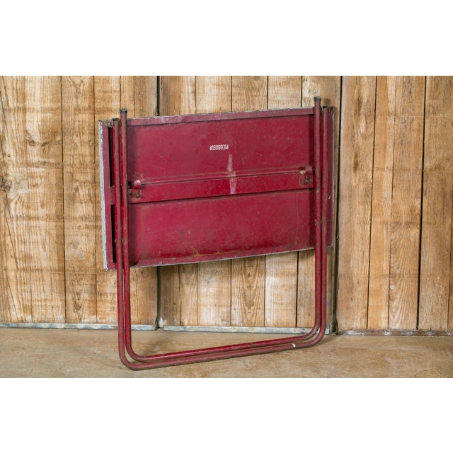 Art Deco French Industrial Iron Folding Table with Red Base, circa 1920 For Sale - Image 3 of 6