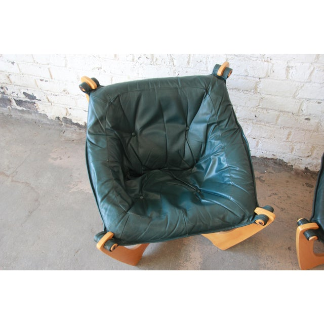 Odd Knutsen Teak Luna Chairs in Green Aniline Leather - a Pair For Sale In South Bend - Image 6 of 12