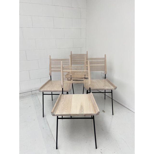 Paul McCobb Style Oak and Iron Chairs- Set of 4 For Sale - Image 12 of 13